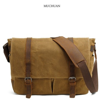 MUCHUAN vintage canvas single shoulder bag casual oblique span men's bag