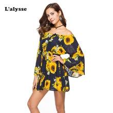 LALYSSE Women Print Casual Dress Off Shoulder Sexy Summer Bohemian Party Beach Mini Sling Sundress Vestidos Femme