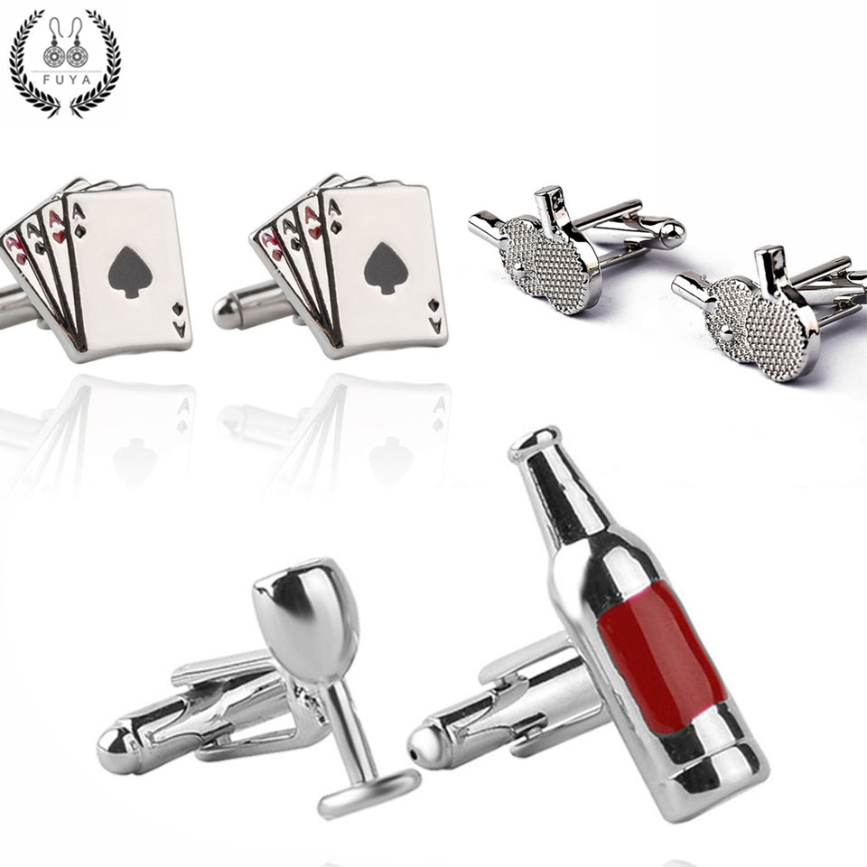 Creative High Quality Cufflinks Buttons Gifts Trendy Playing Cards Ping Pong Poker Bottle Wine Glass Twins Cufflinks For Mens Sh