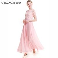 VELALISCIO 2018 새로운 여름 드레스 디자이너 원래 단색 O 목 짧은 소매 청소년 달콤한 진주 쉬폰 우아한 드레