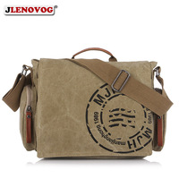 Men's Canvas BriefCase Vintage Crossbody Messenger Laptop bag Khaki Military Army Green Brown Casual Big Retro Handbag for men