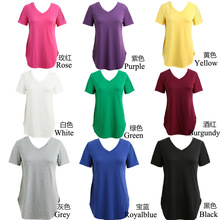Women's T-shirt Summer Plus Size Tee Basic T Shirt Women Solid V Neck Short Sleeve Long Casual Women Tops Loose Tee Shirt Femme