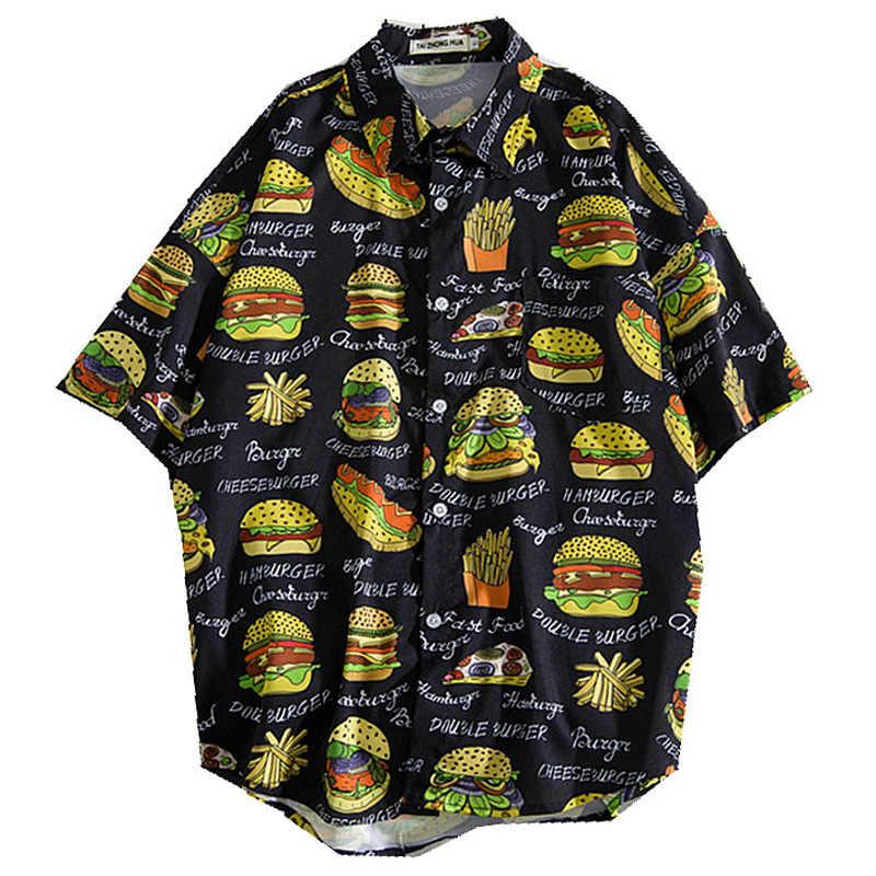 Картофель гамбургер чипсы печати Гавайские Aloha пляжные рубашки для мужчин горячие летние повседневные мужские s рубашки с коротким рукавом Уличная Топы мужские