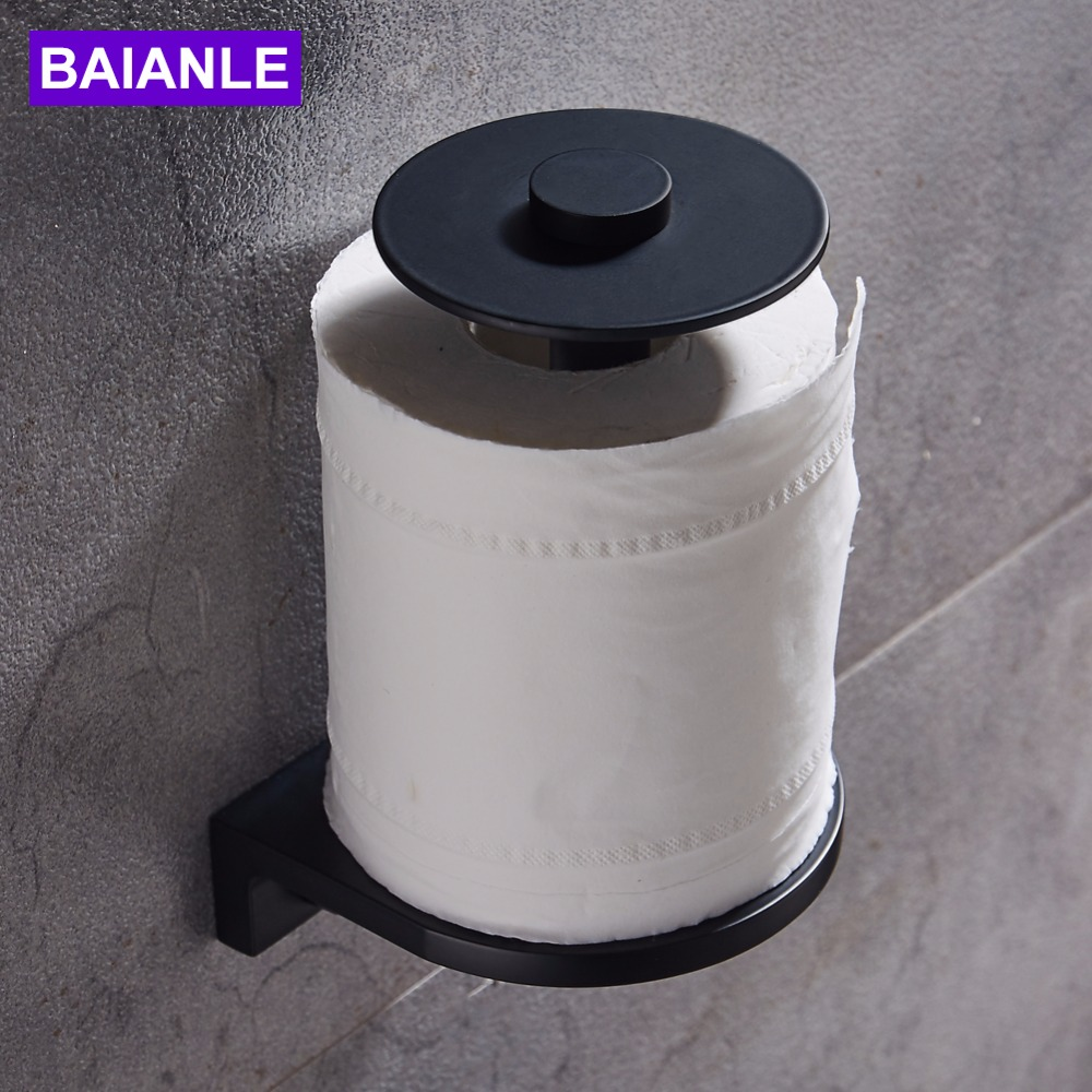 Bathroom Roll Paper Holder Wall Mounted Aluminum Toilet Paper Holder Black Creative Paper Towel Holder Rack Decorative thai solid wood kitchen towel holder roll holder creative retro toilet paper towel holder roll holder lo5311141