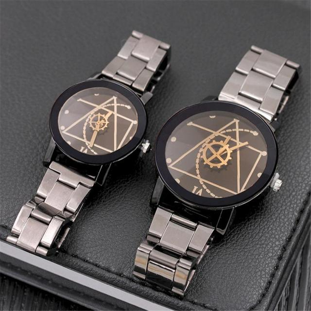 Full Steel Men's Watch Women's Watches Men Clock Gear Triangular Pointer Watch C