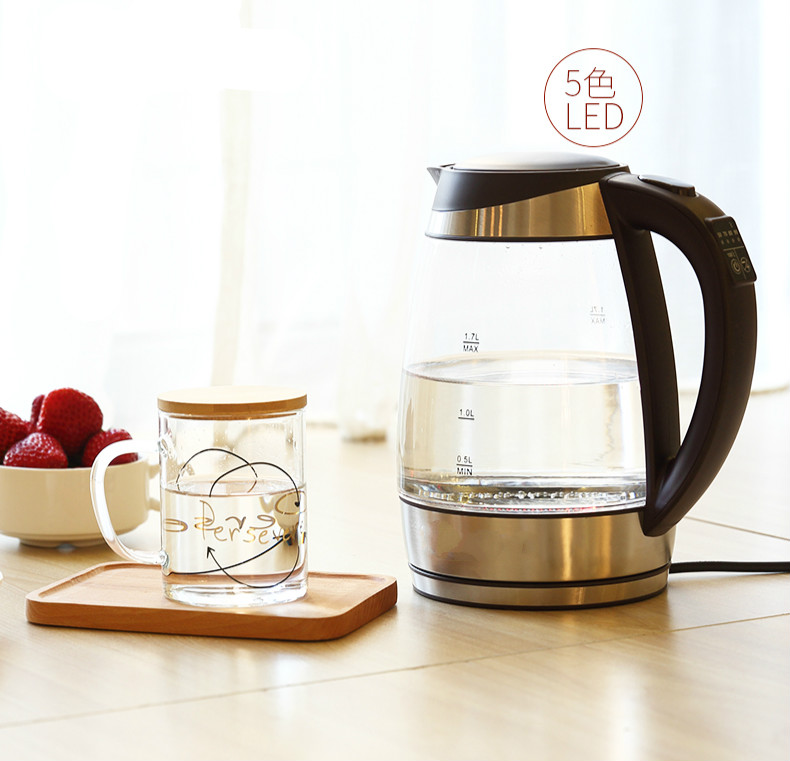 Glass electric kettle household insulation 304 stainless steel boiling water kettle
