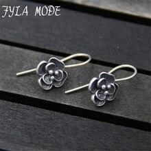 Vintage 925 Silver Drop Earring Rose Flower boucle d'oreille S925 Sterling Silver Dangle Earrings for Women Jewelry TYC205