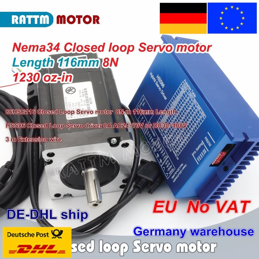 EU Ship Nema34 L-116mm Closed Loop Servo Motor 8N.m Motor 6A Closed Loop & HSS86 Hybrid Step-servo Driver 8A CNC Controller Kit