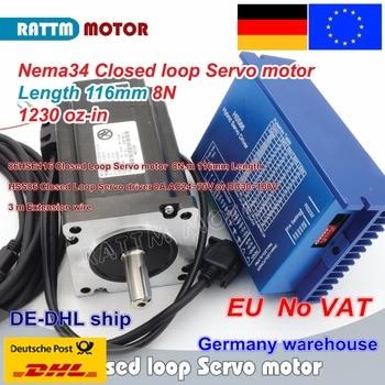 EU Free VAT Nema34 8N.m Closed Loop Servo motor L-116mm Stepper Motor 6A & HSS86 Hybrid Step-servo Driver 8A CNC Controller Kit цена 2017