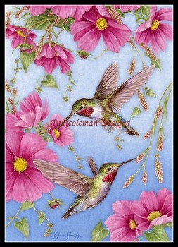 Needlework for embroidery DIY French DMC High Quality - Counted Cross Stitch Kits 14 ct Oil painting - Hummingbirds with Pink
