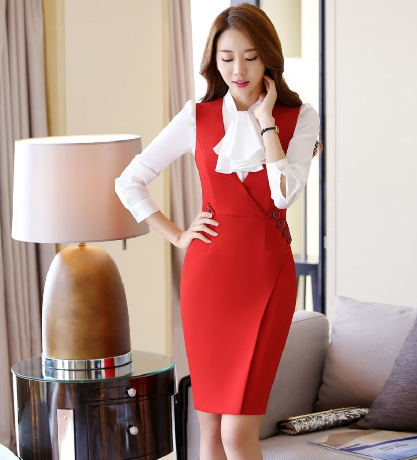 f2a428c0f9 Slim Fashion Summer V-neck Formal Uniform Style Professional Business Women  Dress Ladies Office Work