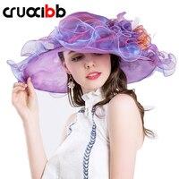 CRUOXIBB Nowa Marka kobiet Słońce Kapelusz Moda Europa Style DIY Netto przędzy Szerokim Rondem Kapelusz Kości Caps Casquette Kobiety Kapelusz Plaży Latem
