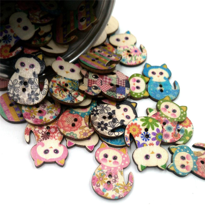 50PC Wooden Cute Cat Sewing Accessories Buttons 2 Holes Sewing Scrapbooking Crafts Sewing Accessories for Clothes Bags 40SP12 (3)