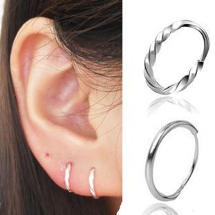 990 999 Fine Silver Twist Mini Small Hoop Earrings Dsmv Pure Ear On
