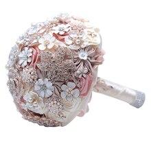 Diamond Designed Bride Holding Flowers Romantic Wedding Bouquet Valentines Day Suppli