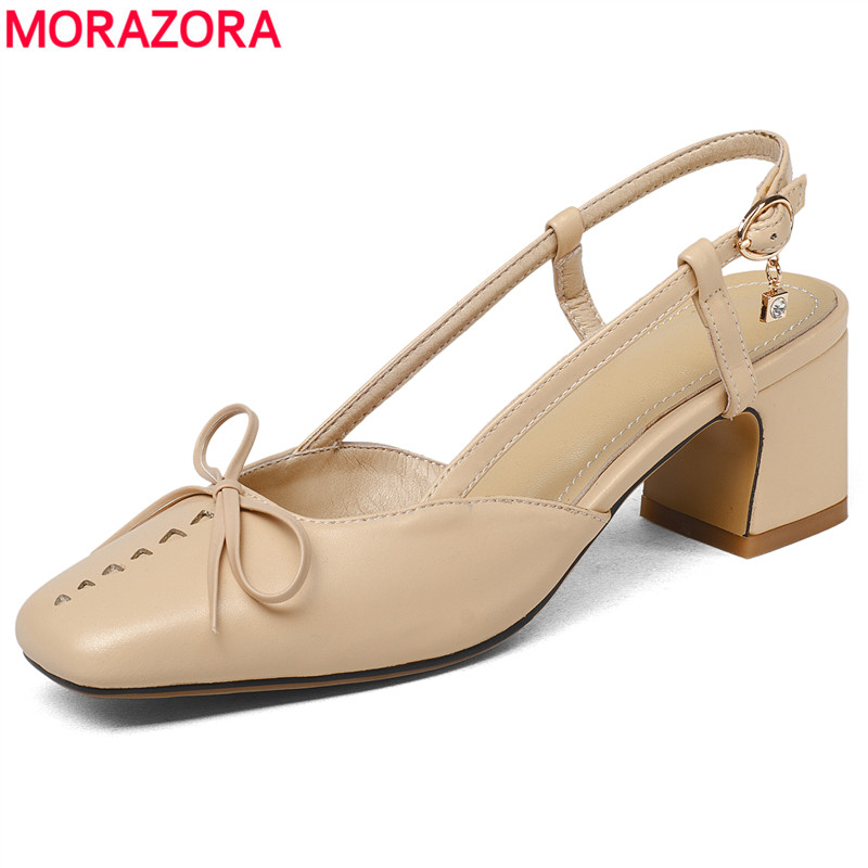 MORAZORA Venda QUENTE 2018 chegam Novas sandálias das mulheres sapatos de salto alto quadrado vestido sapatos cor nude moda sapatas das senhoras do verão