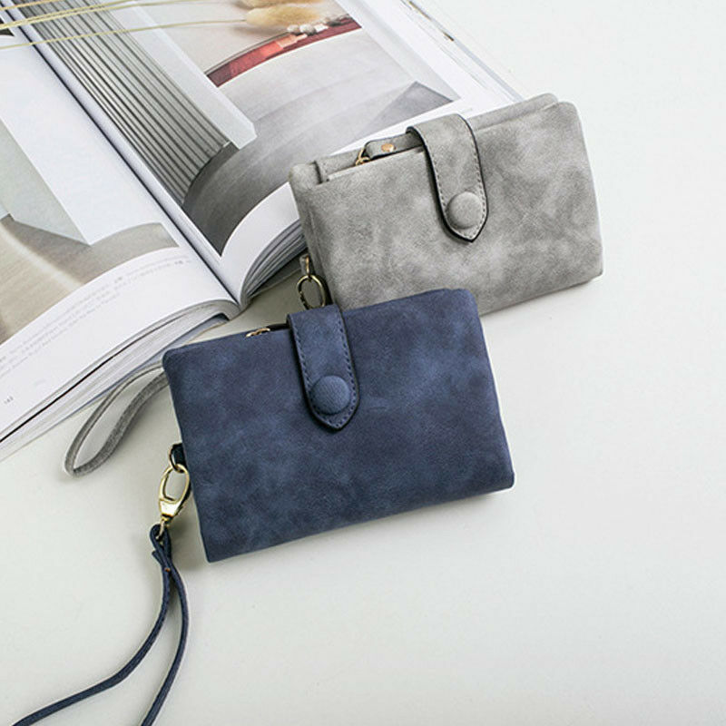 2019 Lady Tri-Fold Multi-Card Female Short Style Wallet Leather Simple Solid Color Coin Pockets Purse Clutch New