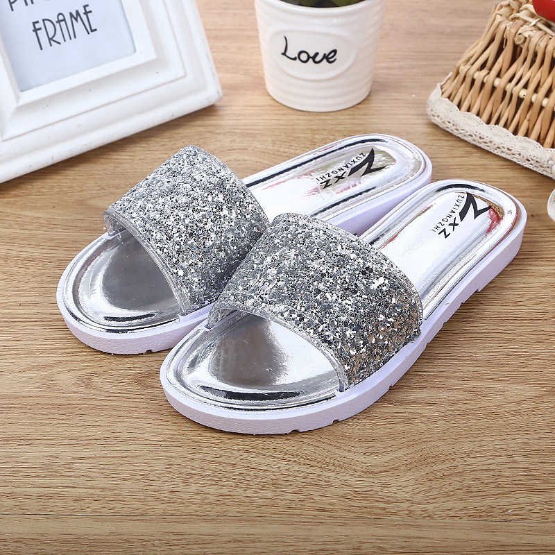 Free Shipping ! Fashion 2017 New Summer Women Shoes Casual Sandals Slipper Sequins Beach Flat Soft Comfortable Pu Leather Shoes slippers female summer 2016 new version for casual shoes women flat sandals sweet flowers beach shoes free shipping