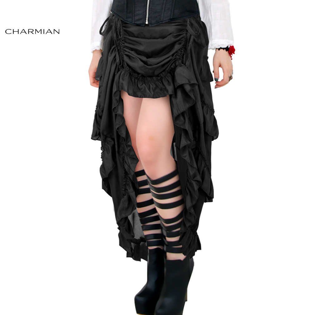 Charmian Women's Plus Size Victorian Gothic Steampunk Skirt Sexy Summer Party Black Ruffles Vintage High Waist High Low Skirt