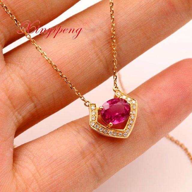 Xin yi peng 18 k rose gold inlaid 1.38ct natural ruby necklace pendant, with diamonds, woman, holiday gifts