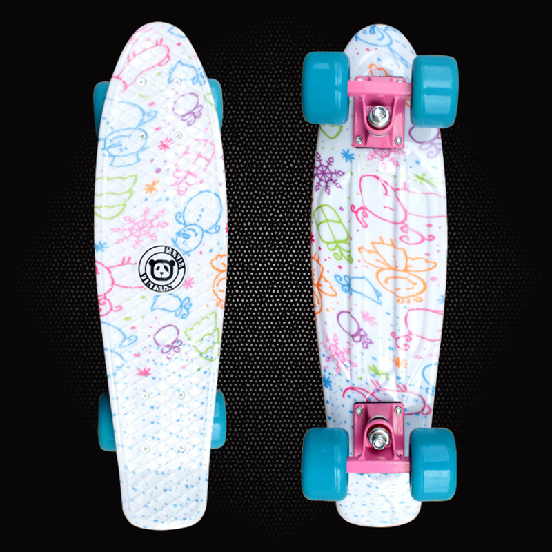 2016 Children's Scooter Mini Cruiser Peny Board Skateboards Printed 22inch Skateboard Complete Longboard Deck Skate Board PD06 2016 new peny board skateboard complete retro girl boy cruiser mini longboard skate fish long board skate wheel pnny board 22