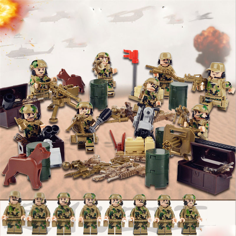 Special Forces Military SWAT Army Weapon Soldier Marine Corps Building Blocks