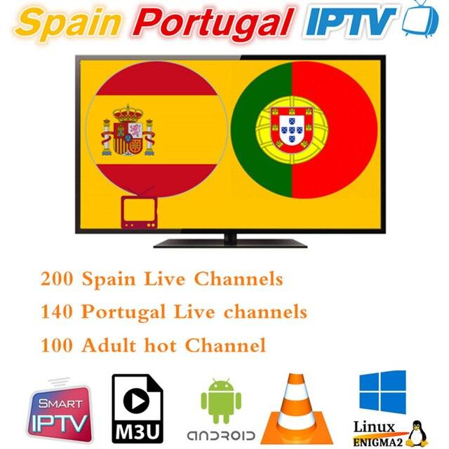 España Portugal IPTV suscripción 200 español 140 Portugal con 100 adultos y once deporte para Android Smart TV M3u enigma2