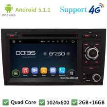 Quad Core 7″ 1024*600 Android 5.1.1 Car DVD Player Radio Stereo With 3G/4G WIFI BT GPS Map USB For Audi A4 S4 RS4 2002-2008
