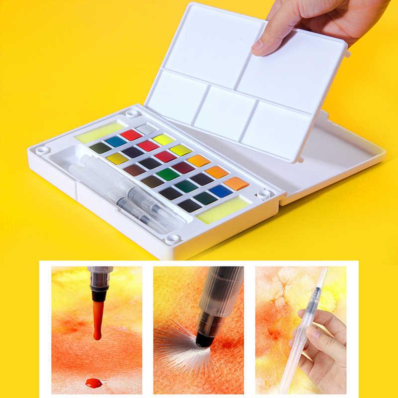 Ensemble de peintures aquarelles de Pigment solide de haute qualité avec stylo pinceau Portable de couleur de l'eau pour les fournitures d'art de peinture professionnelle