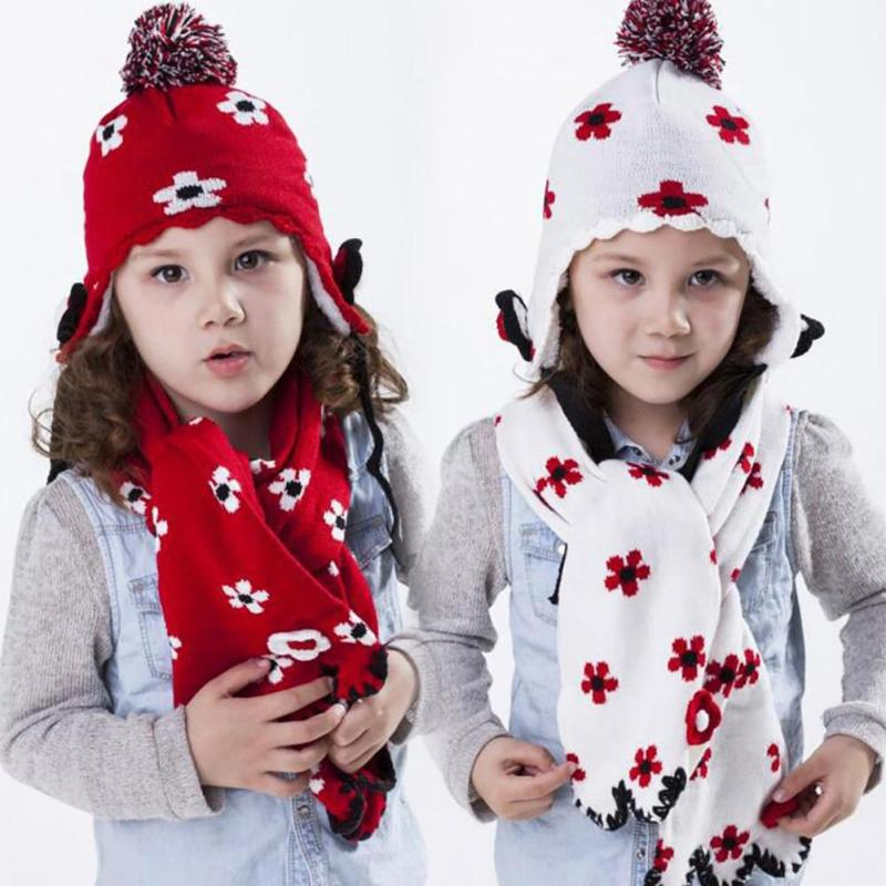 baby winter warm knitted hat scarf and hat set christmas winter kids 2 pieces sets children gift Baby Hat Scarf D45