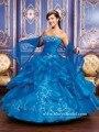 2016 de Alta Qualidade Azul Royal Quinceanera Vestidos Vestidos de Baile Querida Frisado Doce 16 Vestido 15 Anos Vestidos De 15 Años