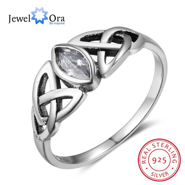 Women Solid 925 Sterling Silver Rings Flowers Pattern With Zirconia Vintage Style Women Jewelry Gift Ideas (JewelOra RI102752)