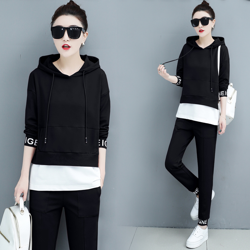 Autumn Sport Two Piece Sets Tracksuits Outfits Women Plus Size Hooded Sweatshirts And Pants Korean Casual Fashion Matching Sets 46