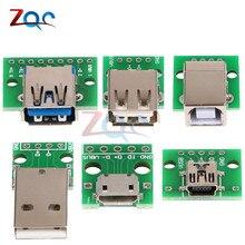 Micro Mini USB A Male USB 2,0 3,0 A Female USB B разъем интерфейс для 2,54 мм DIP PCB конвертер адаптер коммутационная плата