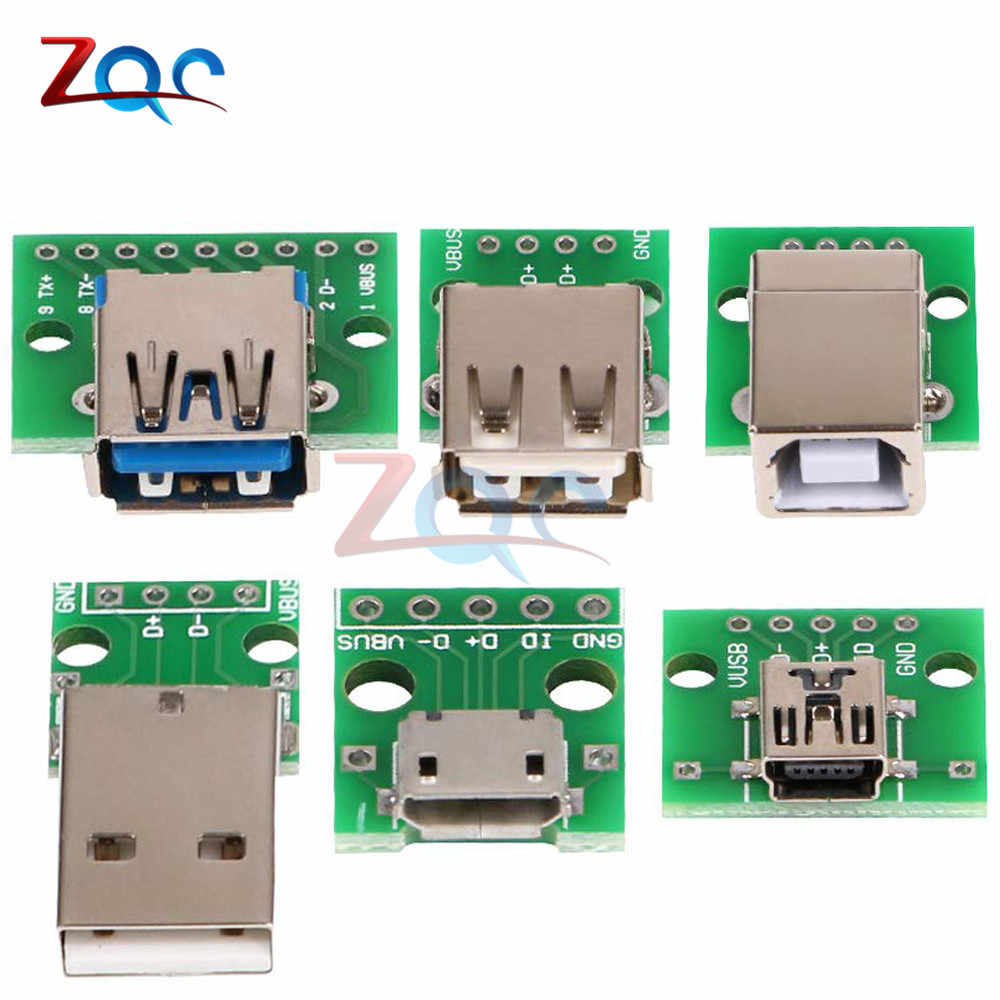 Mikro Mini USB USB Male USB 2.0 3.0 Female USB B Konektor Antarmuka untuk 2.54 Mm DIP PCB adaptor Konverter BREAKOUT BOARD