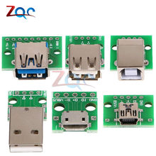 Micro mini usb usb um macho usb 2.0 3.0 uma fêmea usb b conector interface para 2.54mm dip pcb conversor adaptador placa de fuga(China)