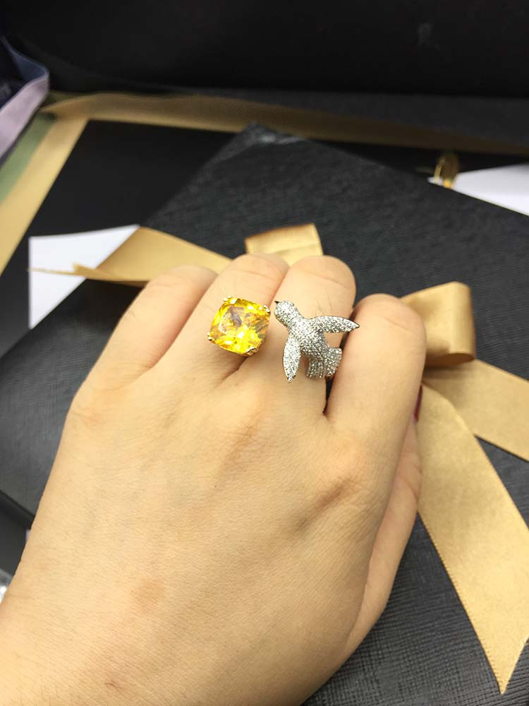Qi Xuan_Fashion Jewelry_Flying Bird Opening Woman Rings_S925 Silver Plated White Gold Fashion Rings_Manufacturer Directly Sales