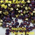 Ss6 1440 unids/bolsa Redonda Al Por Mayor Purple Opal Piedras Point Volver para el Arte Del Clavo de Oro 1.9mm-2.0mm Diy Decoración de Uñas de cristal
