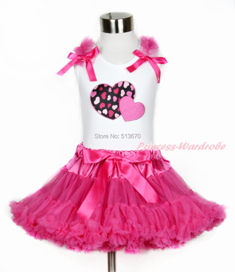 Valentine Girl Hot Pink Twin Heart Ruffle Bow White Top Hot Pink Pettiskirt 1-8Y MAPSA0102 pink lala doll top light hot pink ruffle bow petal pettiskirt baby girl outfit set nb 8y mapsa0005