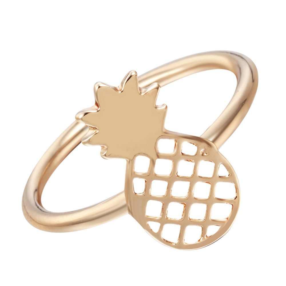 QIMING かわいいパイナップルジュエリーセットフルーツスタッドイヤリング女の子の女性のペンダントネックレス素敵なシルバー女性指輪