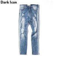 DARK ICON Side Stripe Ripped Jeans Men Full Length 2019 New Fashion High Street Denim Pants Men Destroyed Trousers