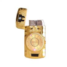 Zapalniczka na butan zegar latarka zapalniczki mężczyzn złoty zegarek kwarcowy kompaktowy Jet butan zapalniczki papieros cygaro prosty ogień zapalniczki bez gazu tanie tanio Butane Jet Lighter 75*40*15 mm China No Gas Butane Gas watch and clock Inflatable