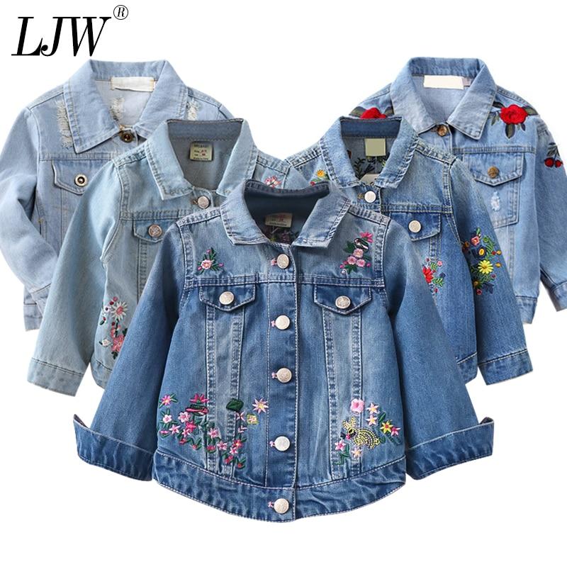 cee8fb345e02 Chaqueta de mezclilla para niña abrigo con bordado de flores nueva moda  para niños primavera otoño chaqueta para niños abrigo de bebé para niña  chaqueta
