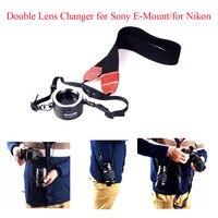 Commlite CM-LF CoMix Objektiv Wechsler Objektiv Halter Doppel Objektiv Wechsler für Sony E-Mount/für Nikon  bitte wählen für sony oder für Nikon