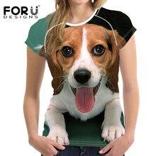 FORUDESIGNS Beagle Printed Female T-shirts Cute Dog Harrier Women T Shirt 2018 Summer Tops Tees Feminine Tshirts Customized New