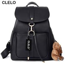CLELO 2016 Backpack Women Ladies PU Backpack School Fashion Black Bags Vintage Waterproof Backpack For Teenage Girls