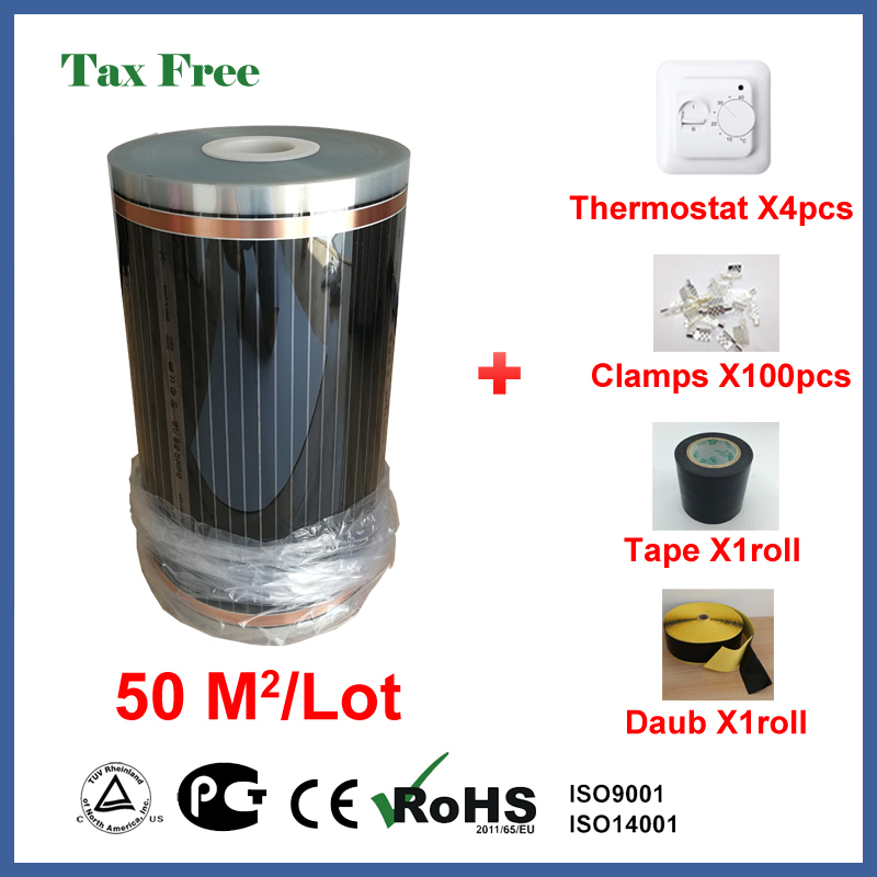 Tax Free Far Infrared floor heating film 50 square meters, 220V electric heating floor film with thermostat and accessories free to norway 50m2 ptc carbon heating film 220v 110w best for under floor heating systems self regulating far infrared film