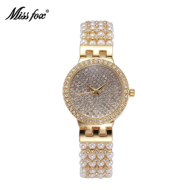 Nueva miss fox perla diamantes reloj pulsera cuarzo relojes top marca  impermeable relojes mujer reloj de b0b414d41a0c