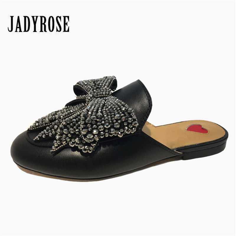 Jady Rose Rhinestone Bowknot Women Slippers Autumn Flat Shoes Woman Fashion Slides Female Mules Loafers Espadrilles