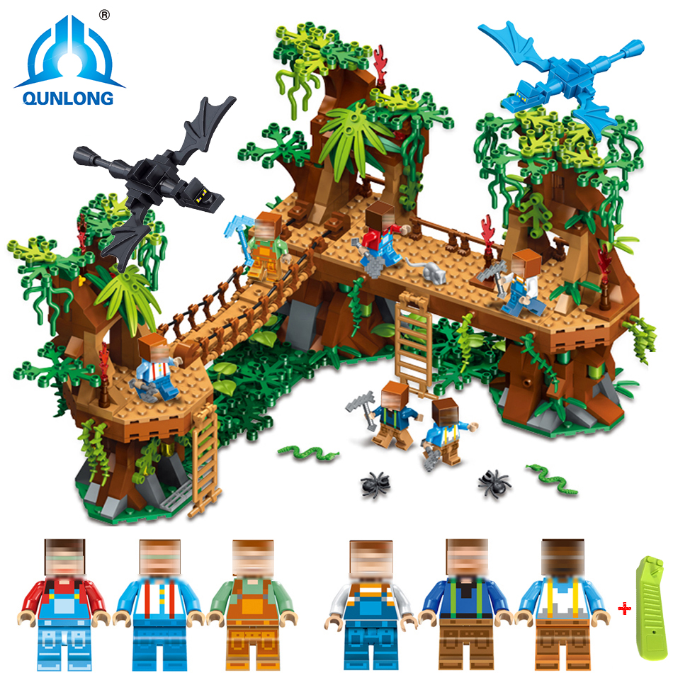 Qunlong MY WORLD Model Building Blocks Bricks Action Toy Figure Birthday Gift For Children Compatible Legoed Minecraft City Toys elc 100 bricks toy wooden building blocks storage bag confirm to en 71 freeshipping